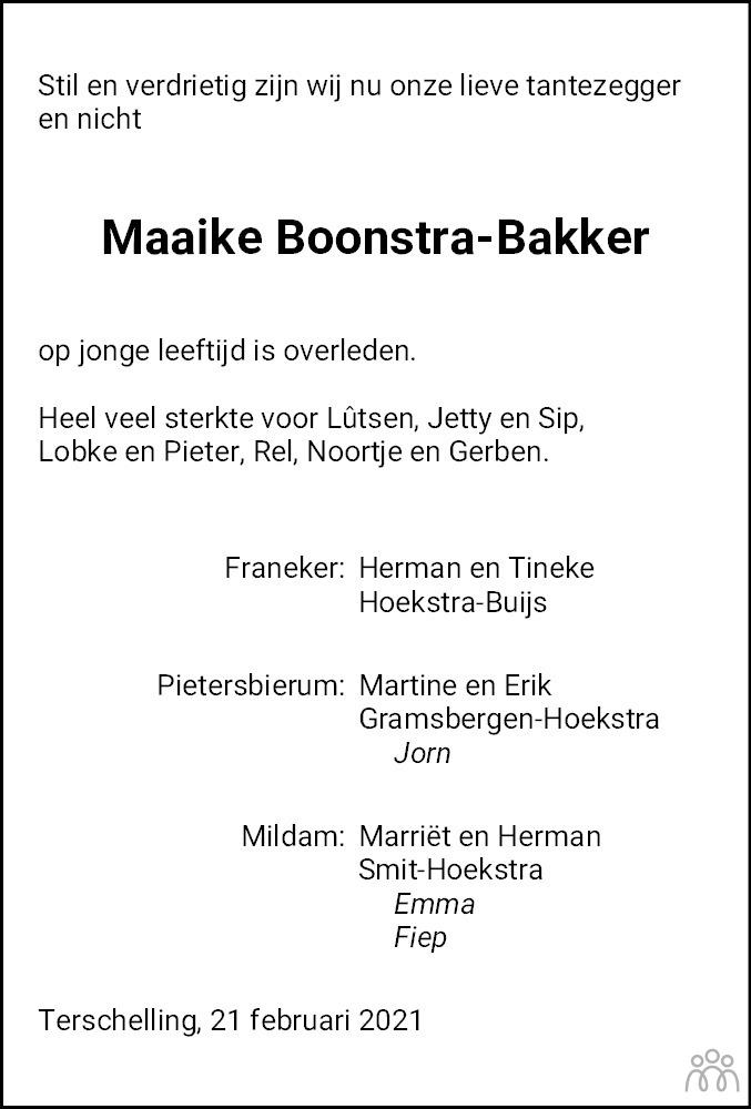 Overlijdensbericht van Maaike Boonstra-Bakker in Leeuwarder Courant