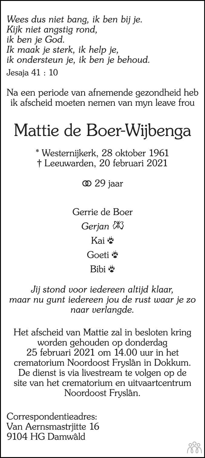 Overlijdensbericht van Mattie de Boer-Wijbenga in Leeuwarder Courant