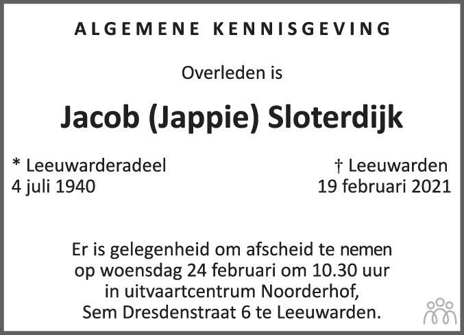 Overlijdensbericht van Jacob (Jappie) Sloterdijk in Leeuwarder Courant