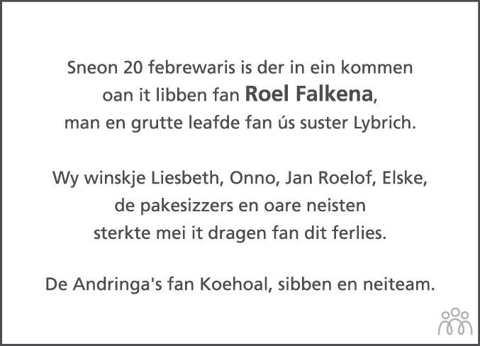 Overlijdensbericht van Roel Falkena in Friesch Dagblad