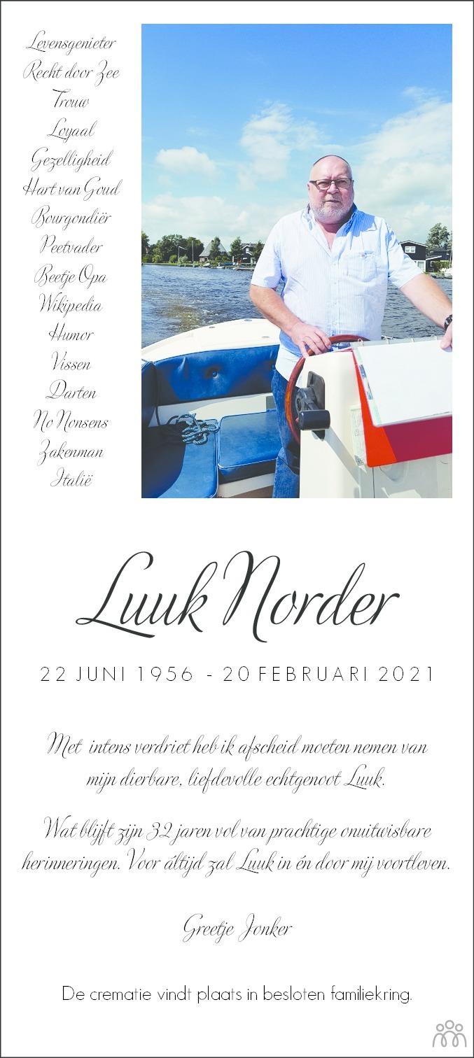 Overlijdensbericht van Luuk Norder in Dagblad van het Noorden
