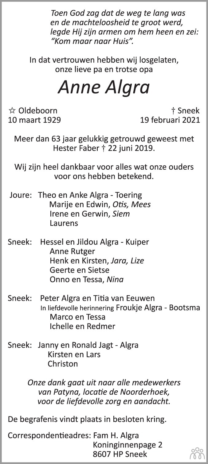 Overlijdensbericht van Anne Algra in Friesch Dagblad