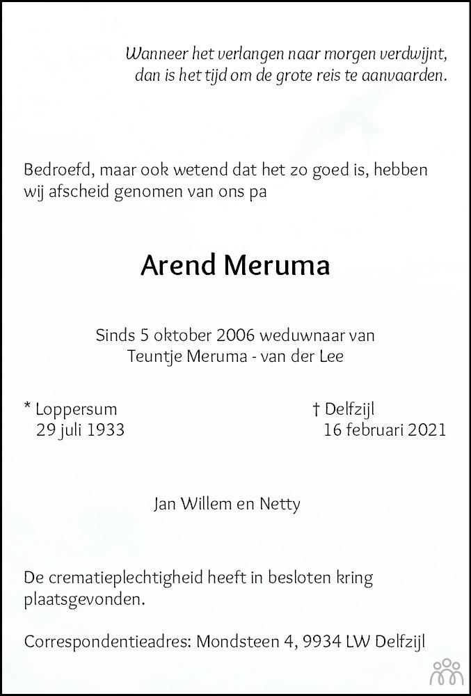 Overlijdensbericht van Arend Meruma in Eemsbode/Noorderkrant