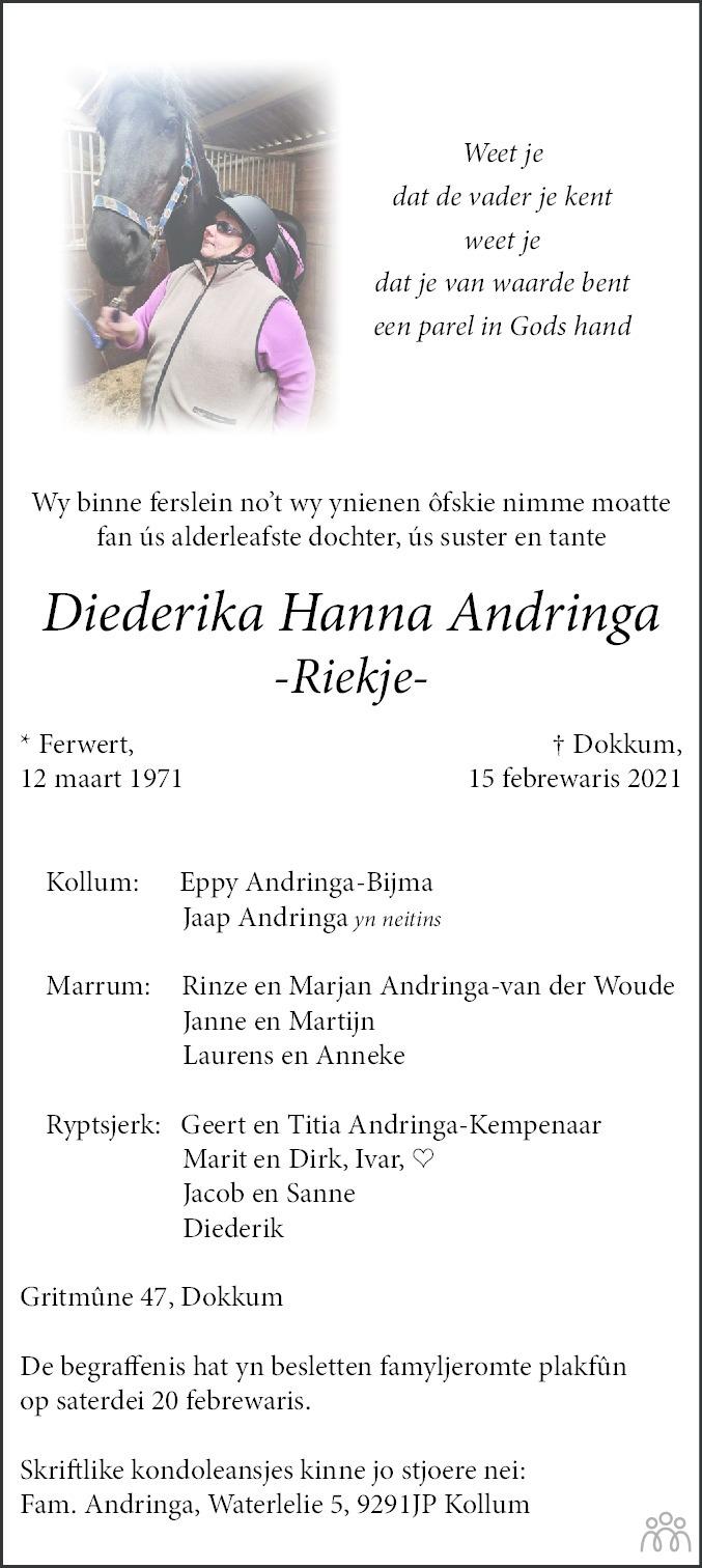 Overlijdensbericht van Diederika Hanna (Riekje) Andringa in Dokkum Kollum Combinatie