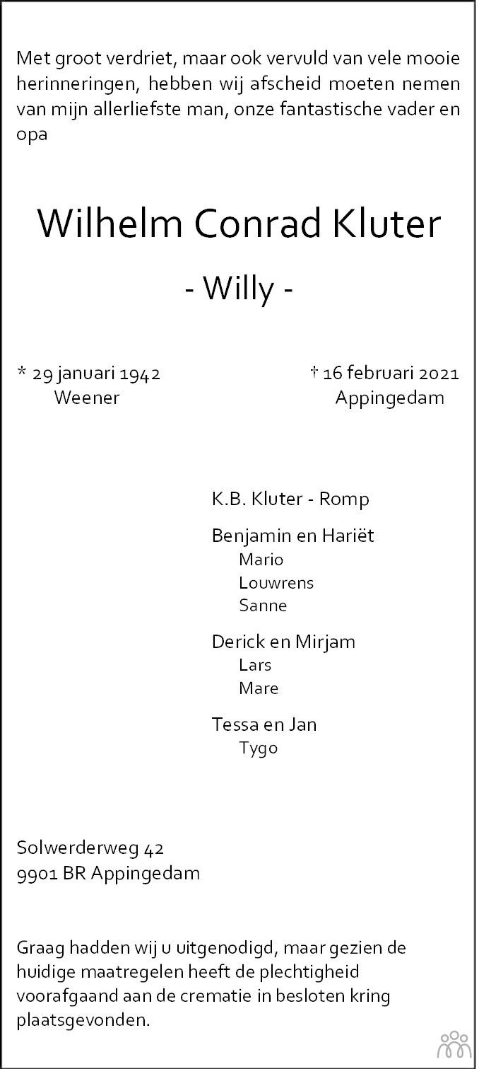 Overlijdensbericht van Wilhelm Conrad (Willy) Kluter in Eemsbode/Noorderkrant