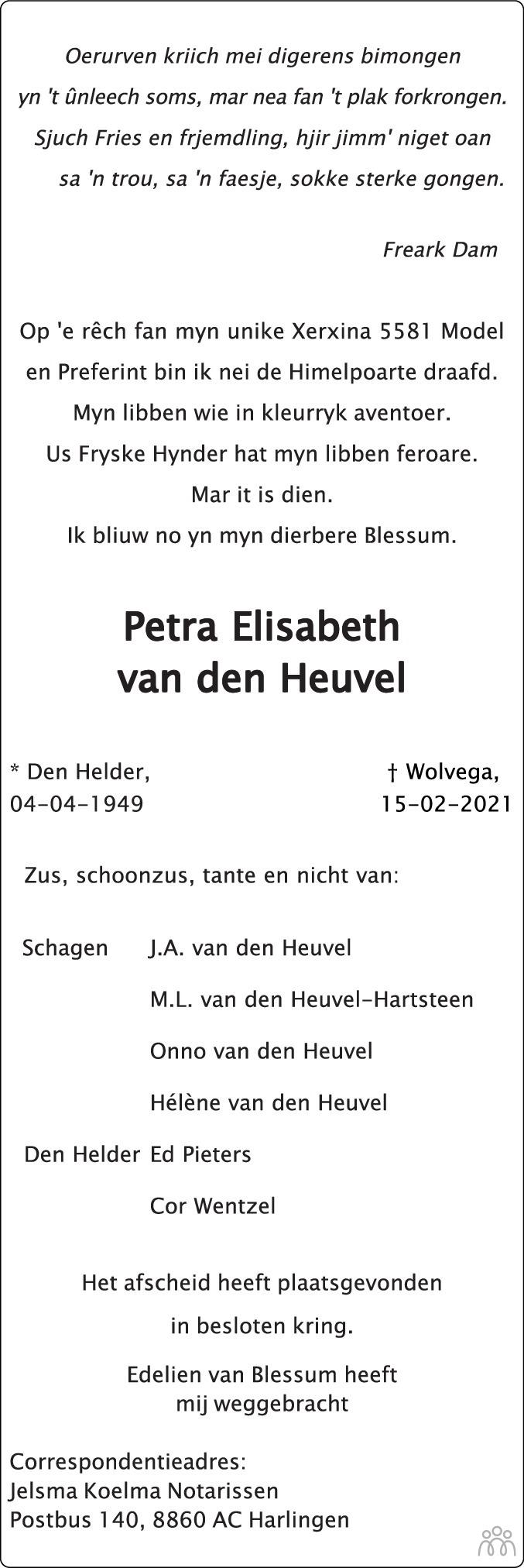 Overlijdensbericht van Petra Elisabeth van den Heuvel in Huis aan Huis