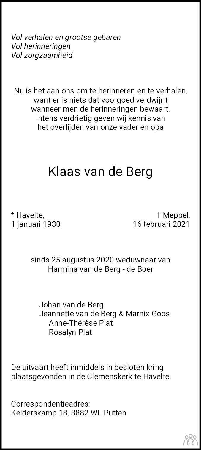 Overlijdensbericht van Klaas van de Berg in De Westervelder