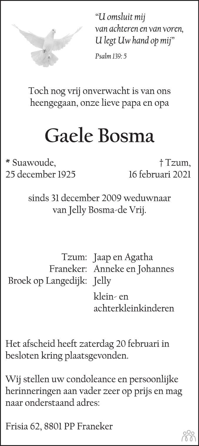 Overlijdensbericht van Gaele Bosma in Franeker Courant