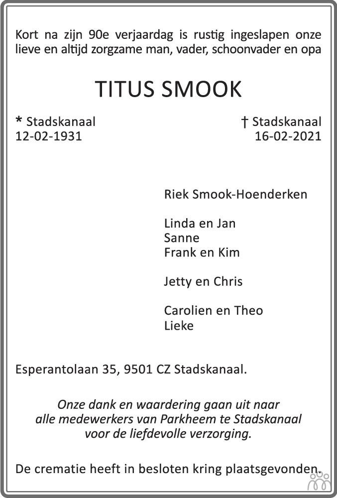 Overlijdensbericht van Titus Smook in Kanaalstreek/Ter Apeler Courant