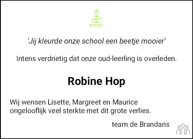 Overlijdensbericht van Robine Hop in Flevopost Dronten
