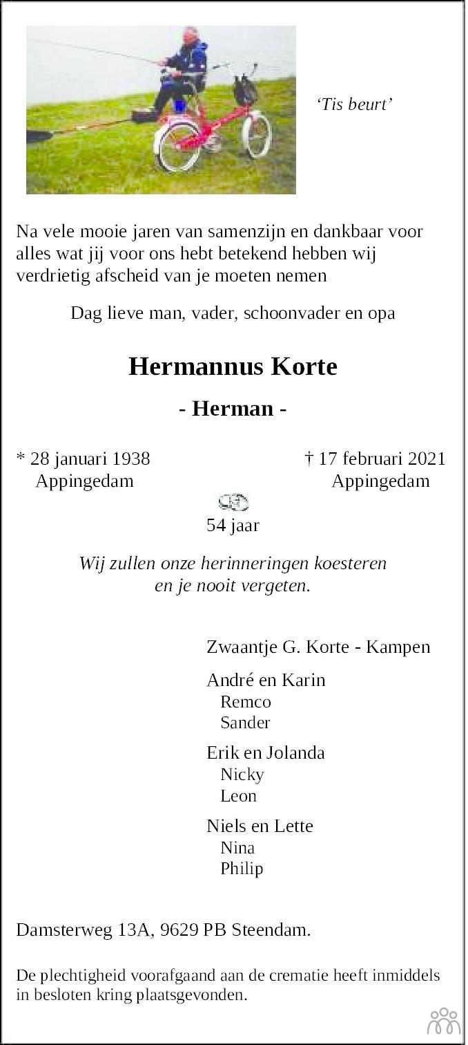Overlijdensbericht van Hermannus (Herman) Korte in Eemsbode/Noorderkrant
