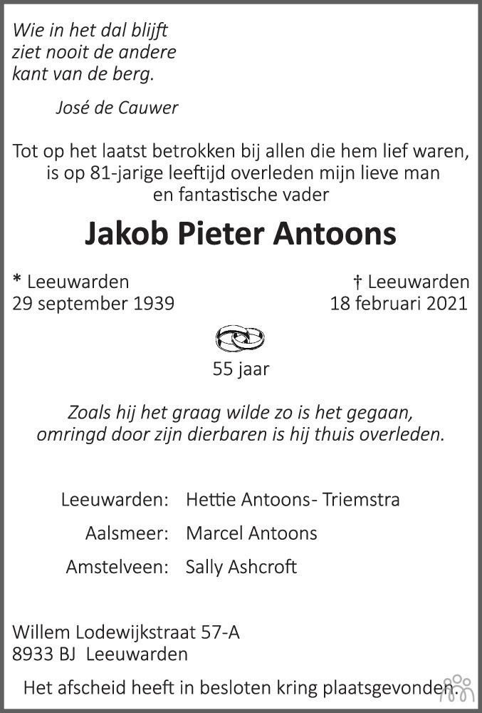Overlijdensbericht van Jakob Pieter Antoons in Huis aan Huis