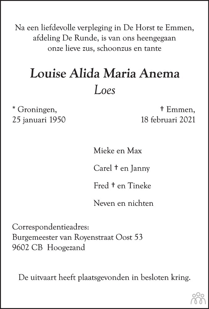 Overlijdensbericht van Louise Alida Maria (Loes) Anema in Groninger Gezinsbode