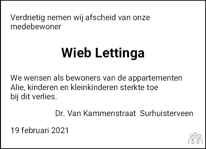 Overlijdensbericht van Wiebren Lettinga in De Feanster