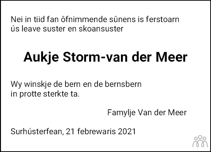 Overlijdensbericht van Aukje Storm-van der Meer in De Feanster