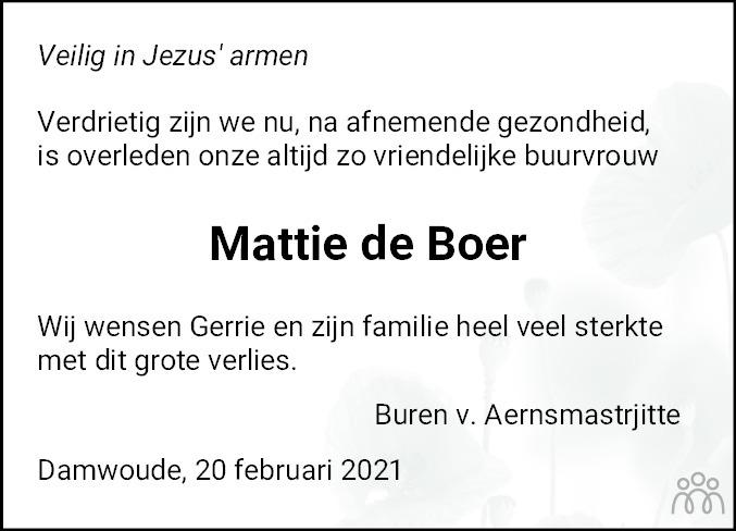 Overlijdensbericht van Mattie de Boer-Wijbenga in Dokkum Kollum Combinatie