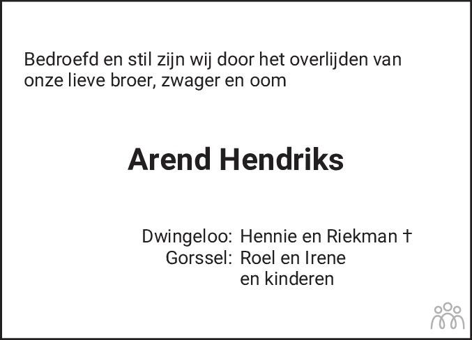 Overlijdensbericht van Arend Hendriks in Meppeler Courant