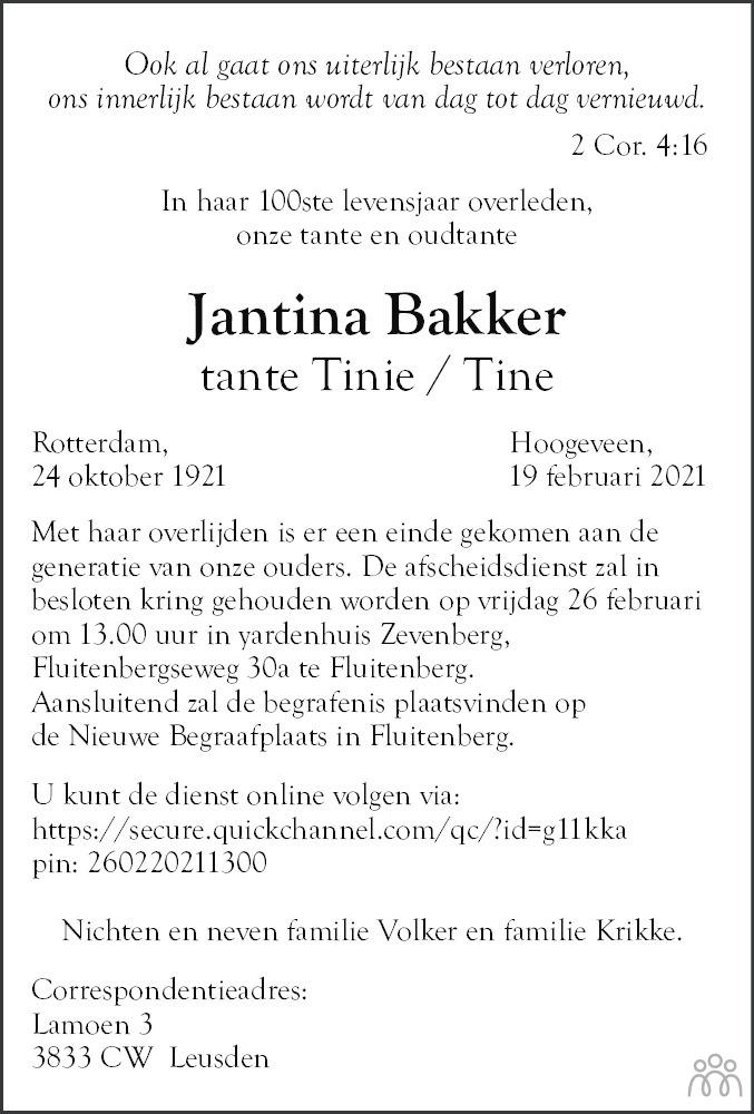 Overlijdensbericht van Jantina (Tine/Tinie) Bakker in Hoogeveensche Courant