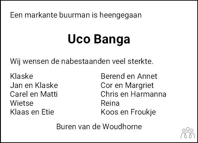 Overlijdensbericht van Uco Banga in Dokkum Kollum Combinatie