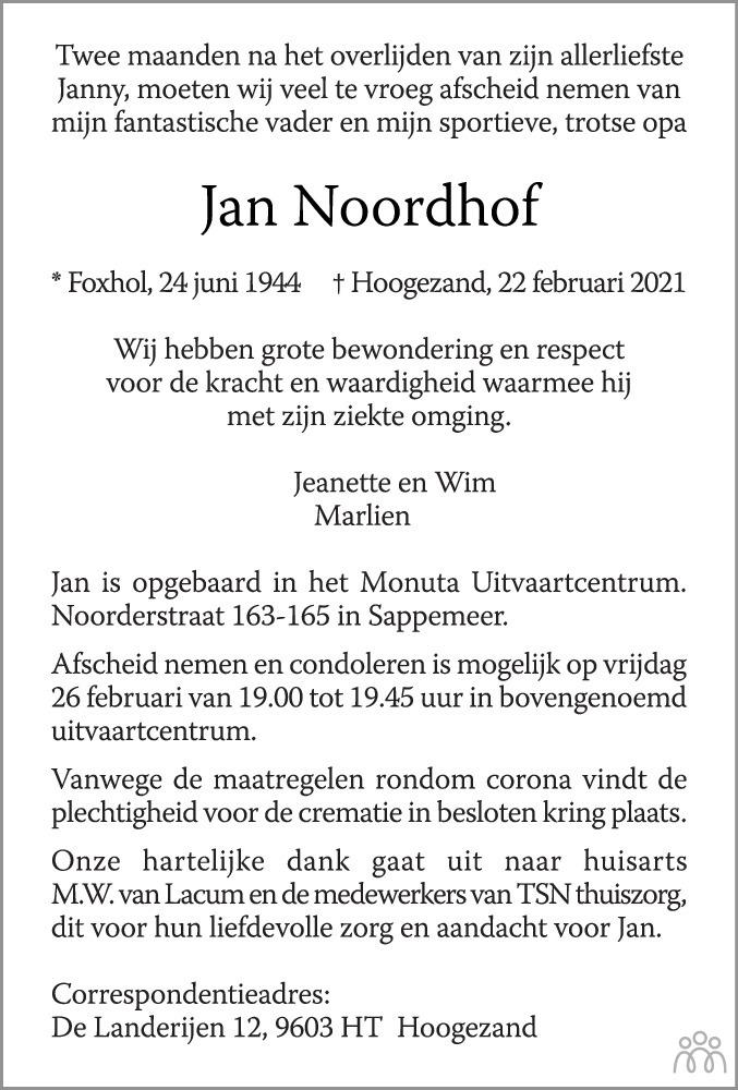 Overlijdensbericht van Jan Noordhof in HS-krant