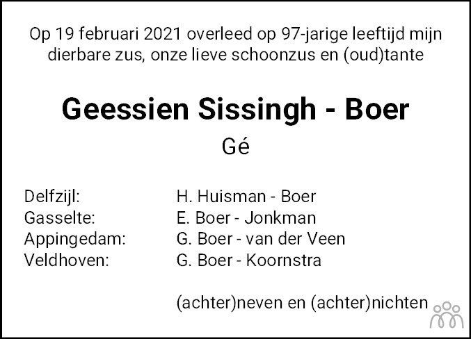 Overlijdensbericht van Geessien Sissingh-Boer in Eemsbode/Noorderkrant