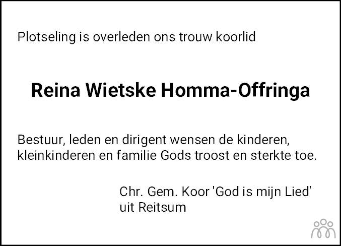 Overlijdensbericht van Reina Wietske Homma-Offringa in Dokkum Kollum Combinatie