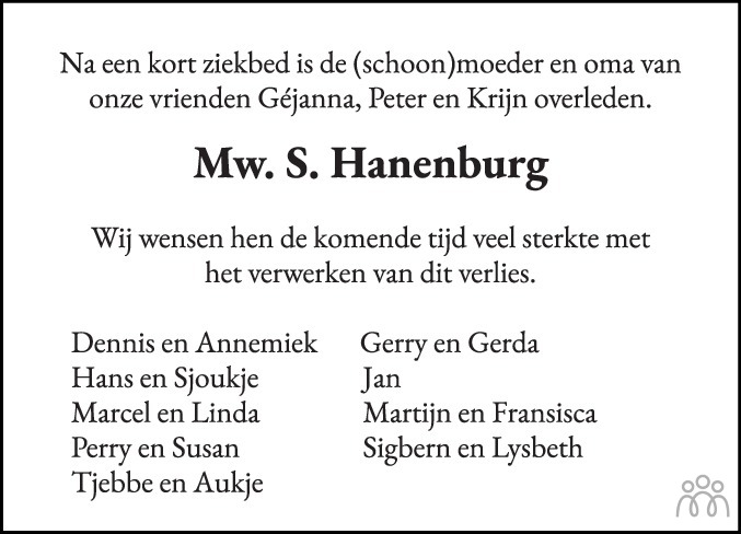 Overlijdensbericht van Sijbrigje (Sypie) Hanenburg-van der Schaaf in Drachtster Courant