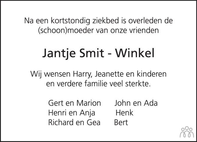Overlijdensbericht van Jantje (Zus) Smit-Winkel in Hoogeveensche Courant