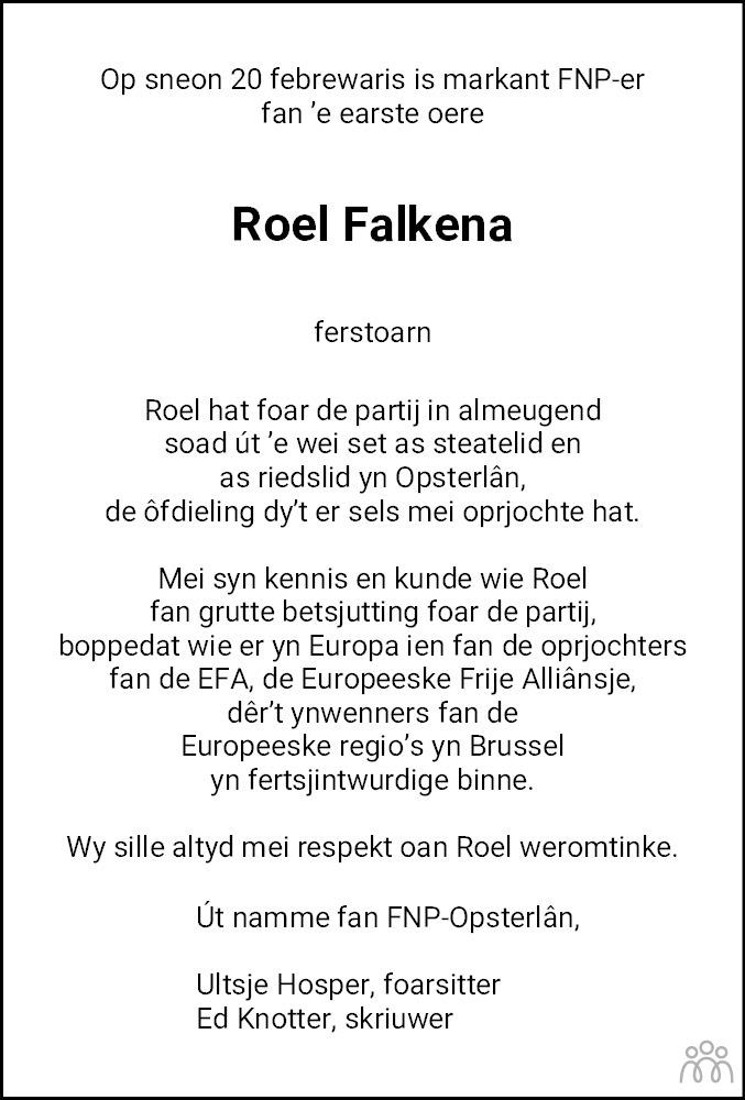 Overlijdensbericht van Roel Falkena in Drachtster Courant