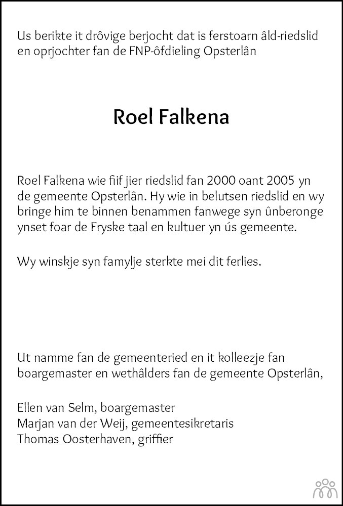 Overlijdensbericht van Roel Falkena in Leeuwarder Courant