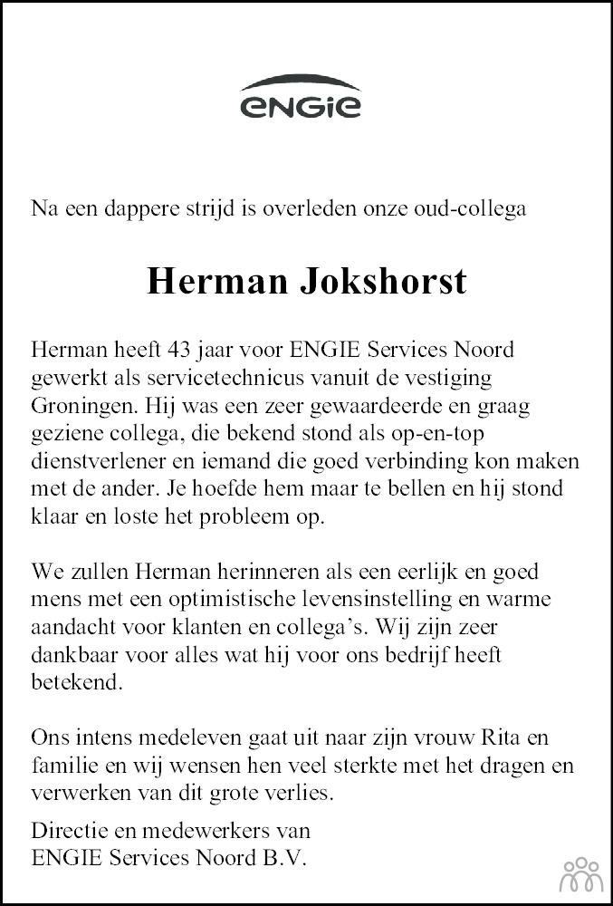 Overlijdensbericht van Herman Jokshorst in Dagblad van het Noorden