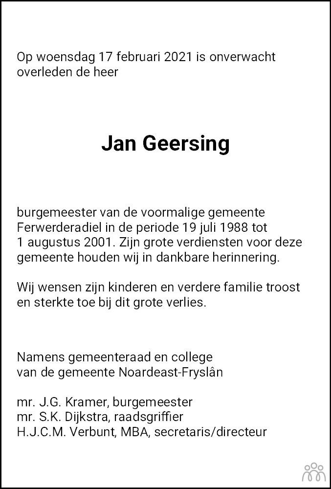 Overlijdensbericht van Jan Geersing in Leeuwarder Courant