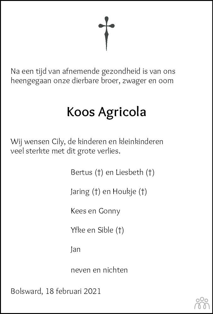 Overlijdensbericht van Jacobus Herman (Koos) Agricola in Balkster Courant HAH