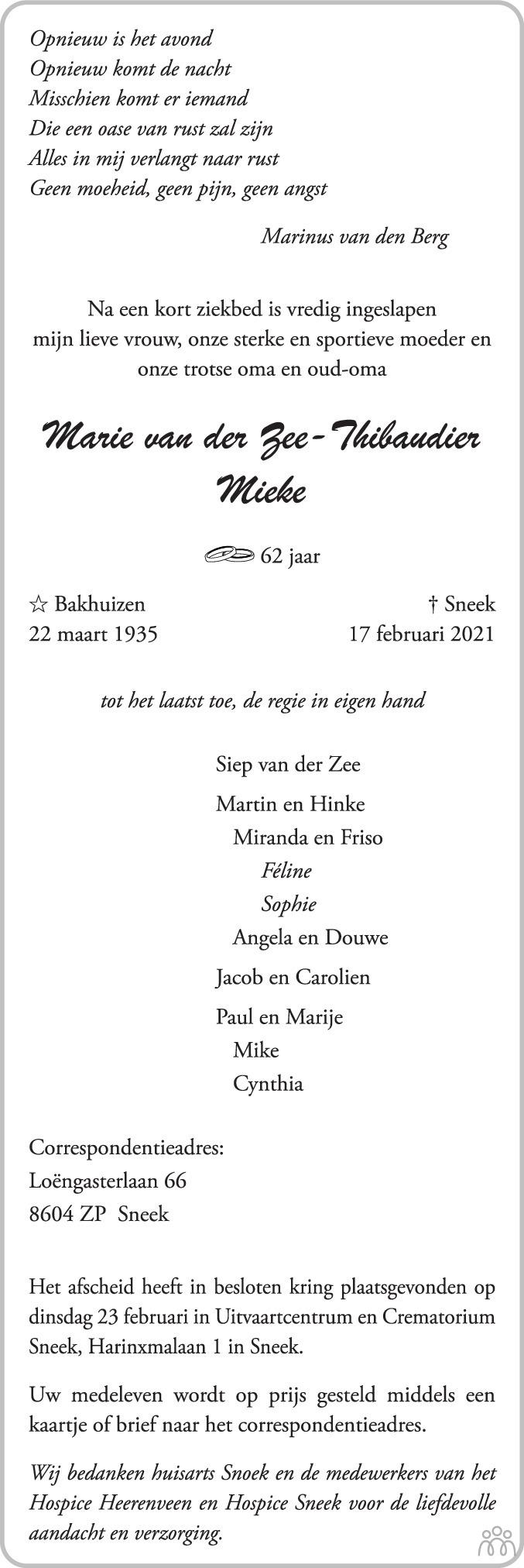 Overlijdensbericht van Marie (Mieke) van der Zee-Thibaudier in Bolswards Nieuwsblad