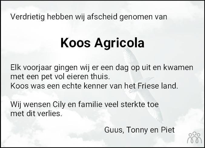 Overlijdensbericht van Jacobus Herman (Koos) Agricola in Bolswards Nieuwsblad