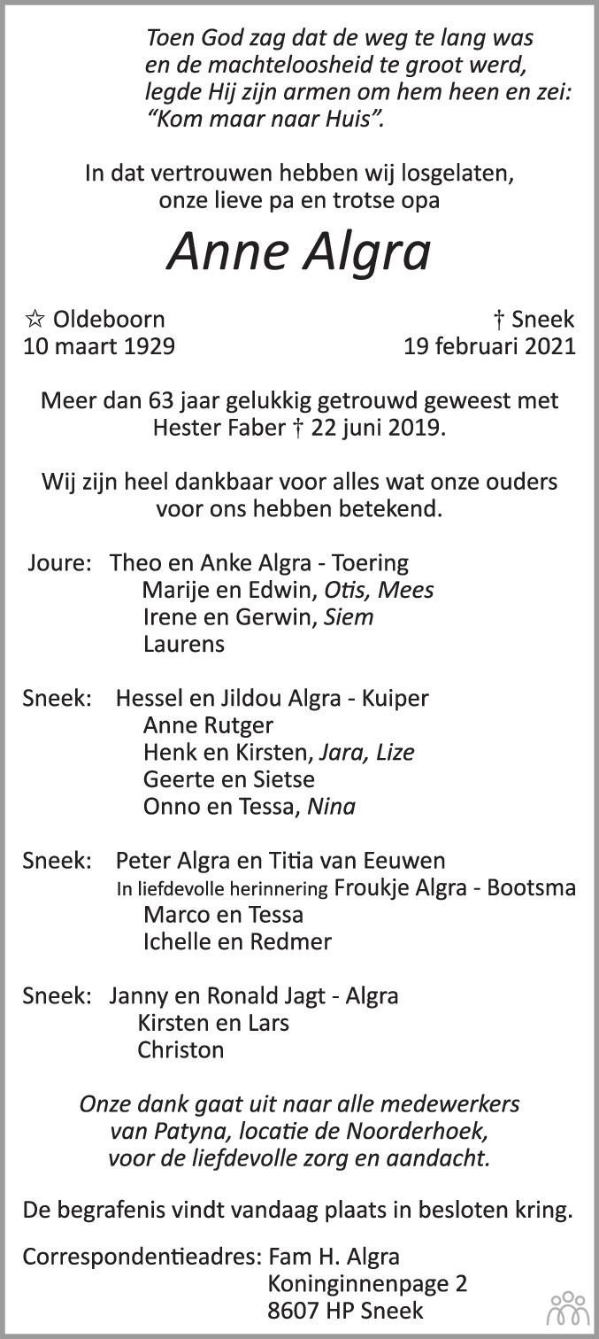 Overlijdensbericht van Anne Algra in Sneeker Nieuwsblad