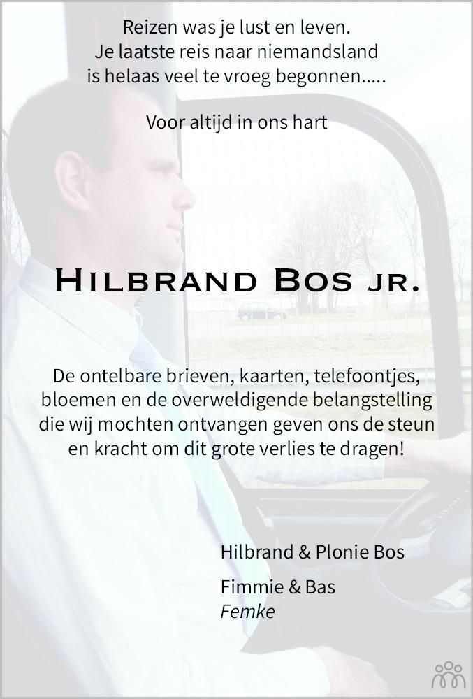 Overlijdensbericht van Hilbrand .Bos in Heerenveense Courant