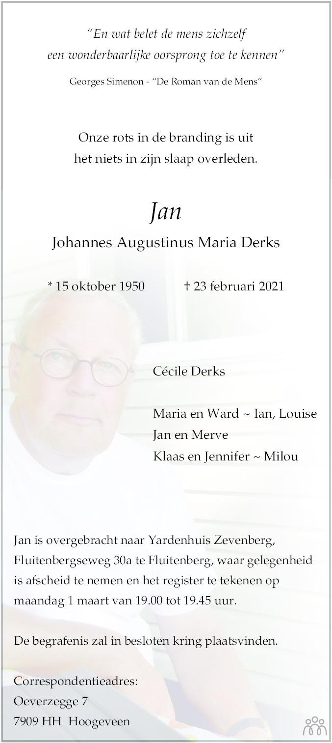 Overlijdensbericht van Johannes Augustinus Maria (Jan) Derks in Dagblad van het Noorden