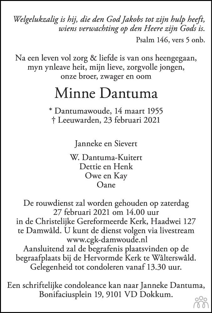 Overlijdensbericht van Minne Dantuma in Leeuwarder Courant