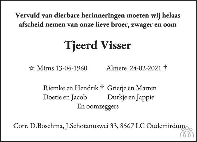 Overlijdensbericht van Tjeerd Visser in Leeuwarder Courant