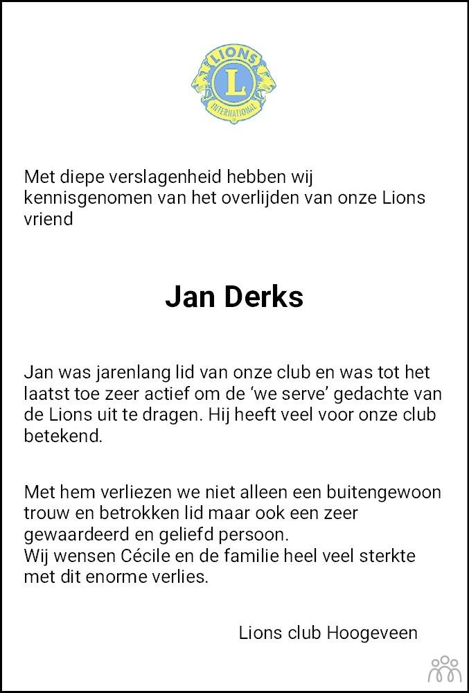 Overlijdensbericht van Johannes Augustinus Maria (Jan) Derks in Hoogeveensche Courant