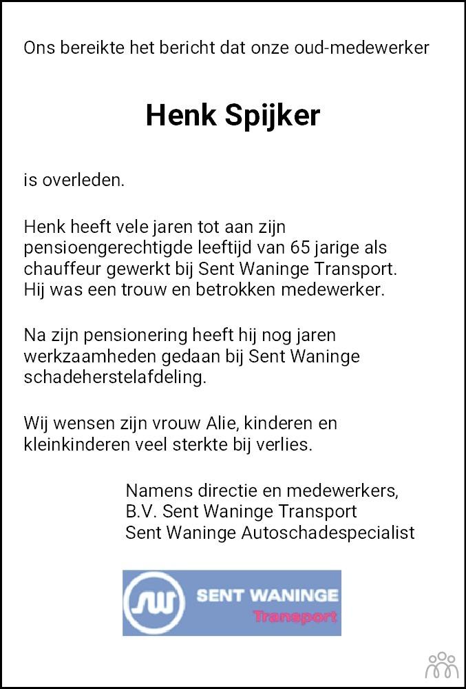 Overlijdensbericht van Klaas Hendrik (Henk) Spijker in Hoogeveensche Courant