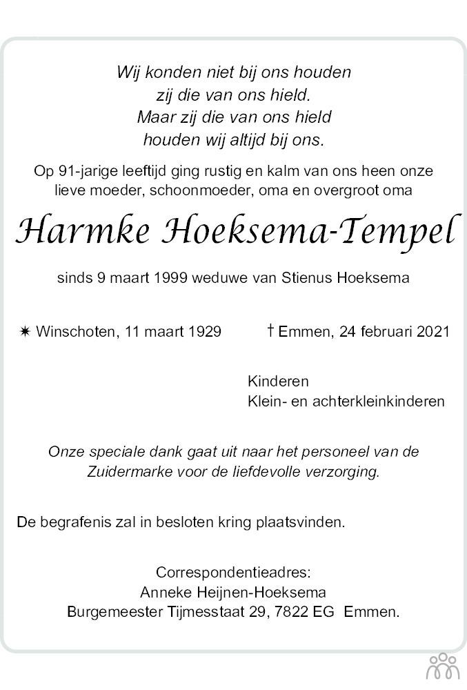 Overlijdensbericht van Harmke Hoeksema-Tempel in Dagblad van het Noorden