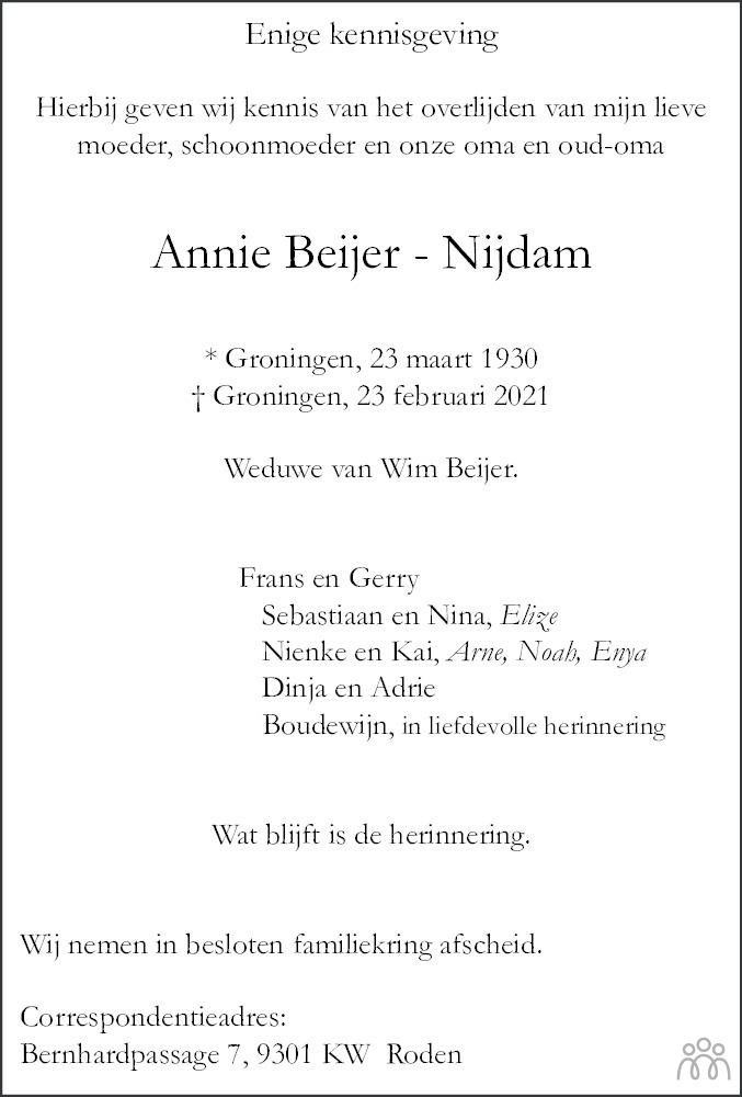 Overlijdensbericht van Annie Beijer-Nijdam in Dagblad van het Noorden