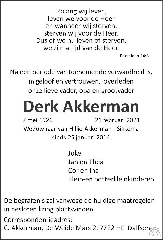 Overlijdensbericht van Derk Akkerman in Dagblad van het Noorden