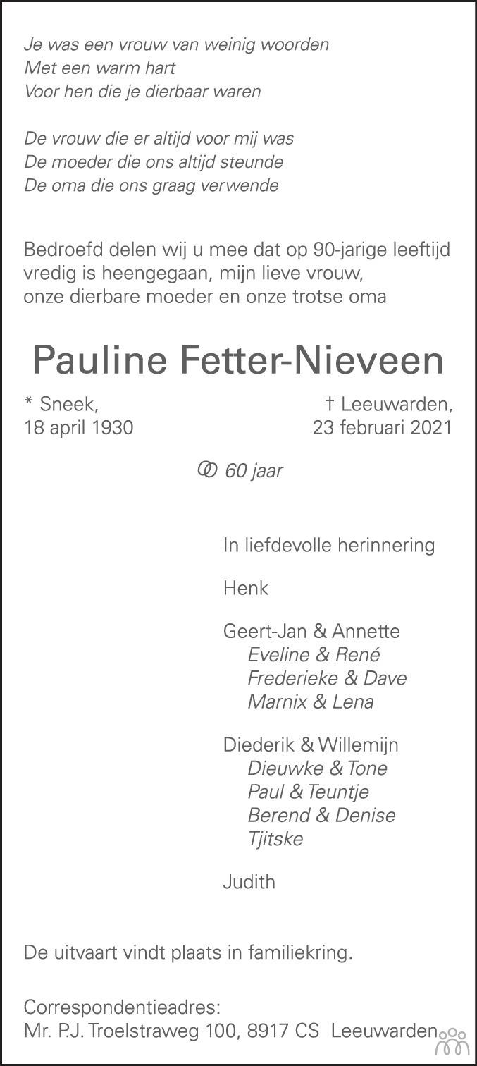 Overlijdensbericht van Pauline Fetter-Nieveen in Leeuwarder Courant