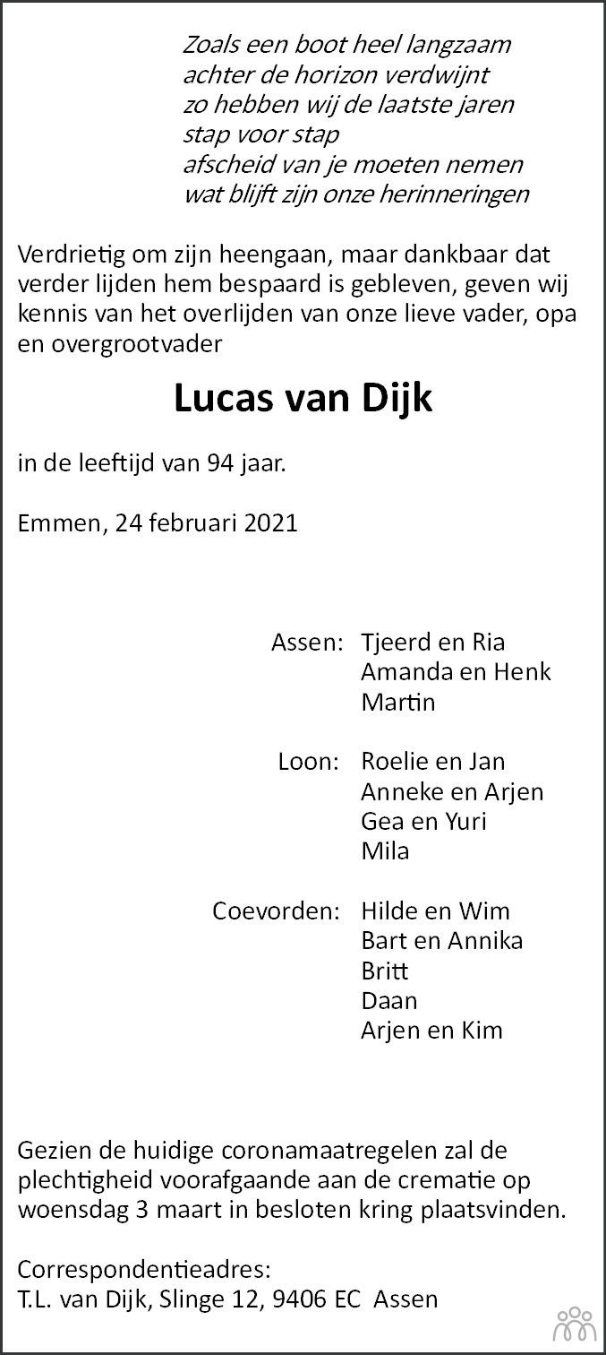 Overlijdensbericht van Lucas van Dijk in Dagblad van het Noorden