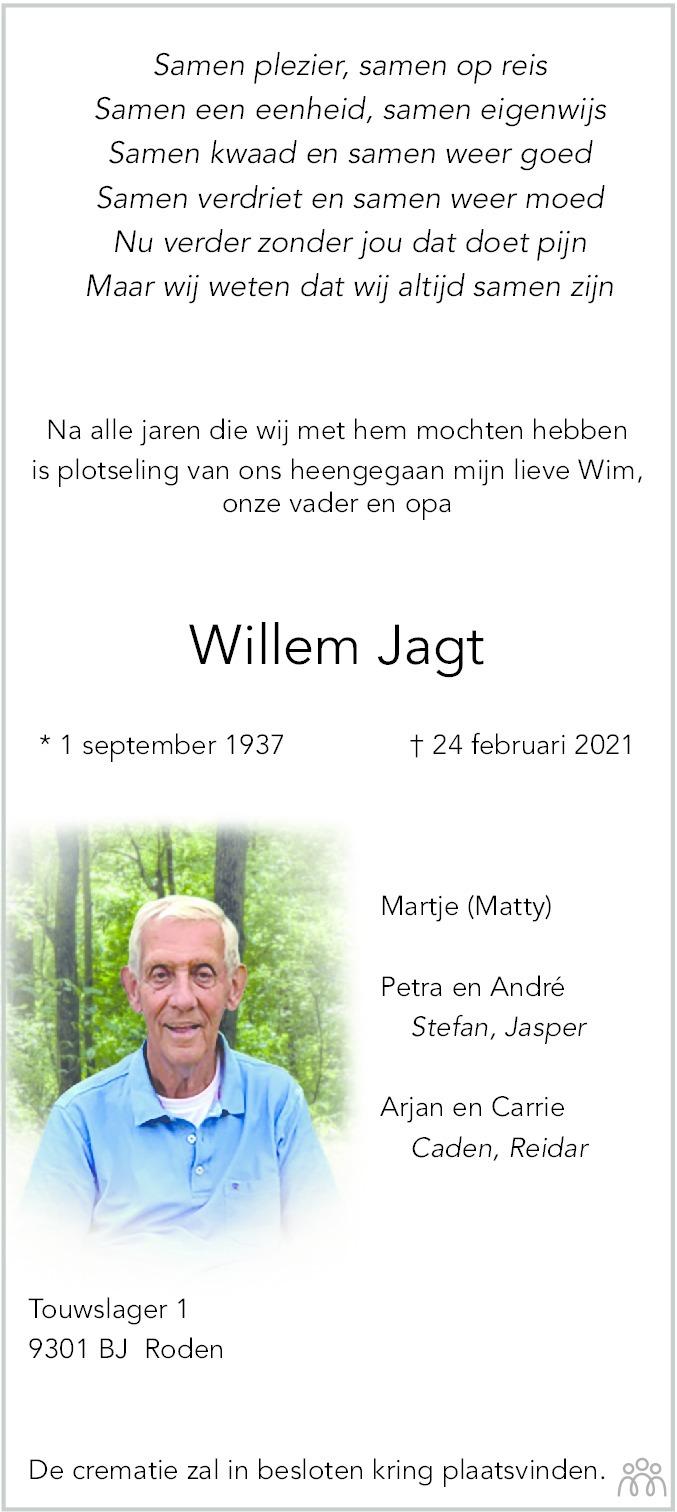 Overlijdensbericht van Willem Jagt in Dagblad van het Noorden