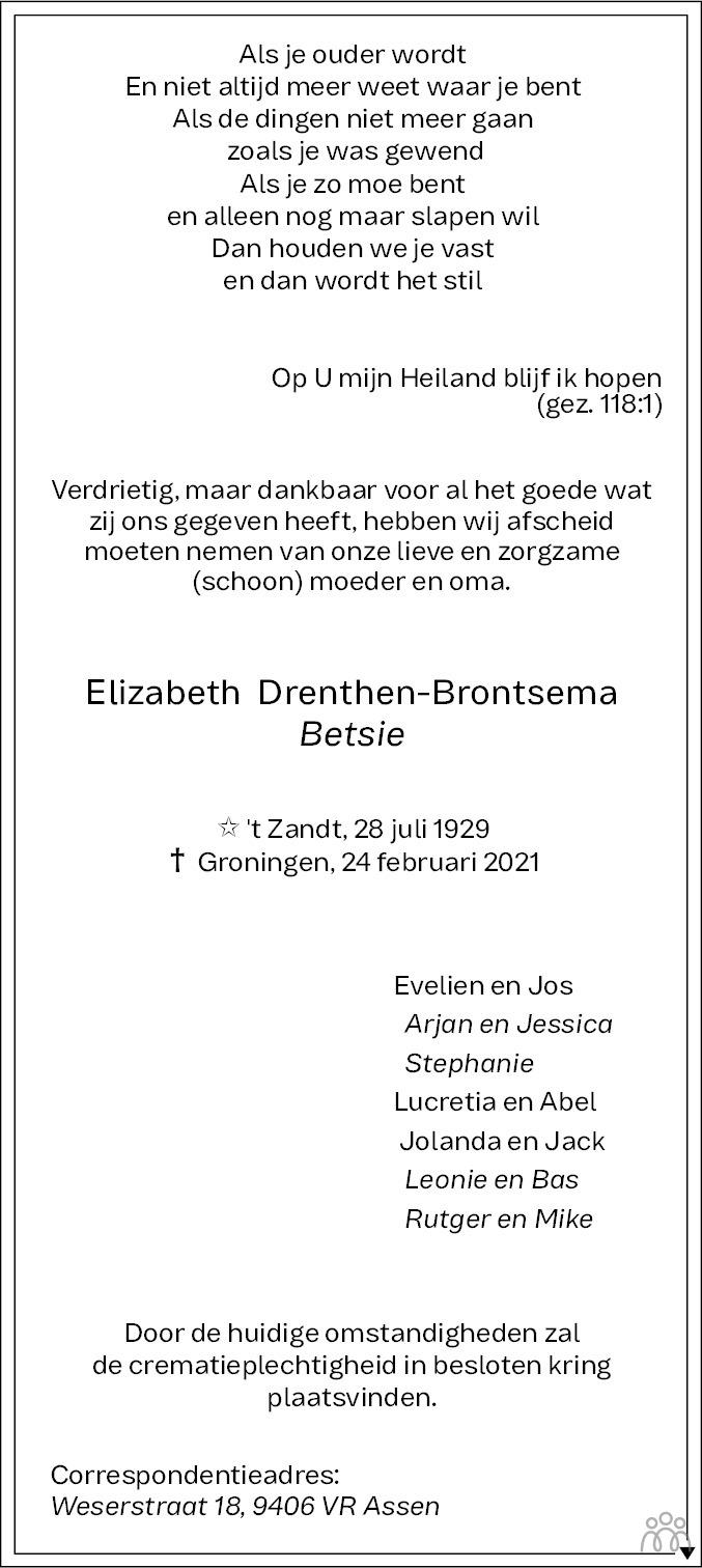 Overlijdensbericht van Elizabeth (Betsie) Drenthen-Brontsema in Dagblad van het Noorden