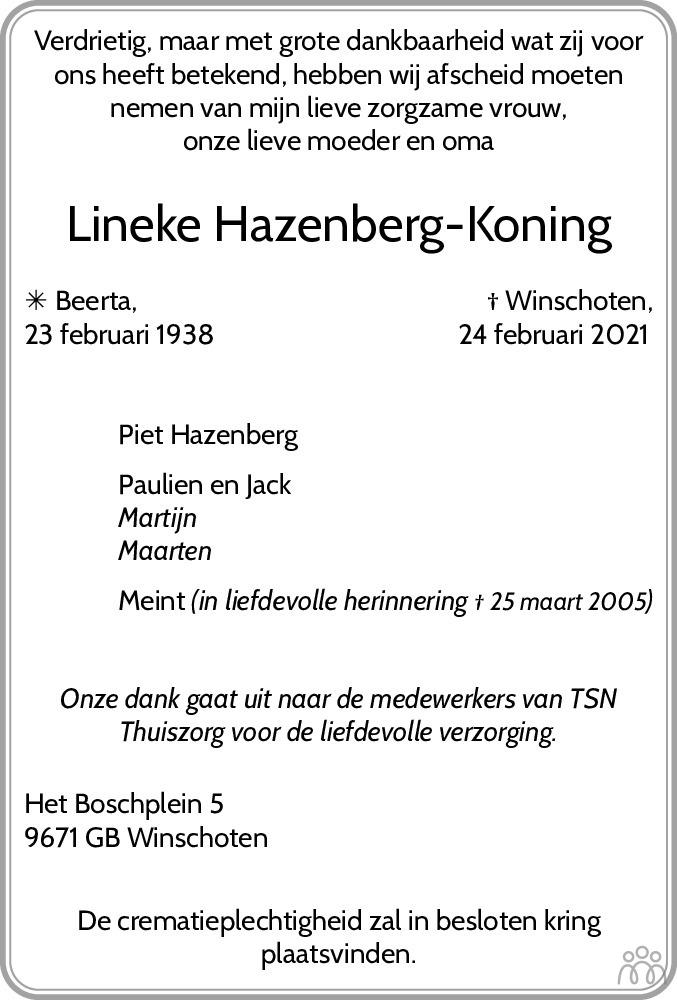 Overlijdensbericht van Lineke Hazenberg-Koning in Dagblad van het Noorden